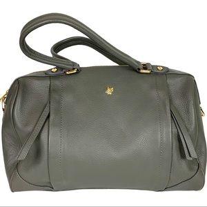 Ora Delphine Soft 100% Pebble Leather Gray Satchel